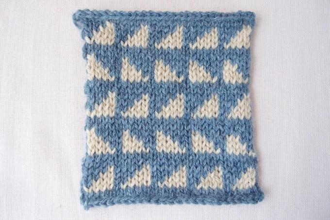 横糸渡しの編みこみ模様