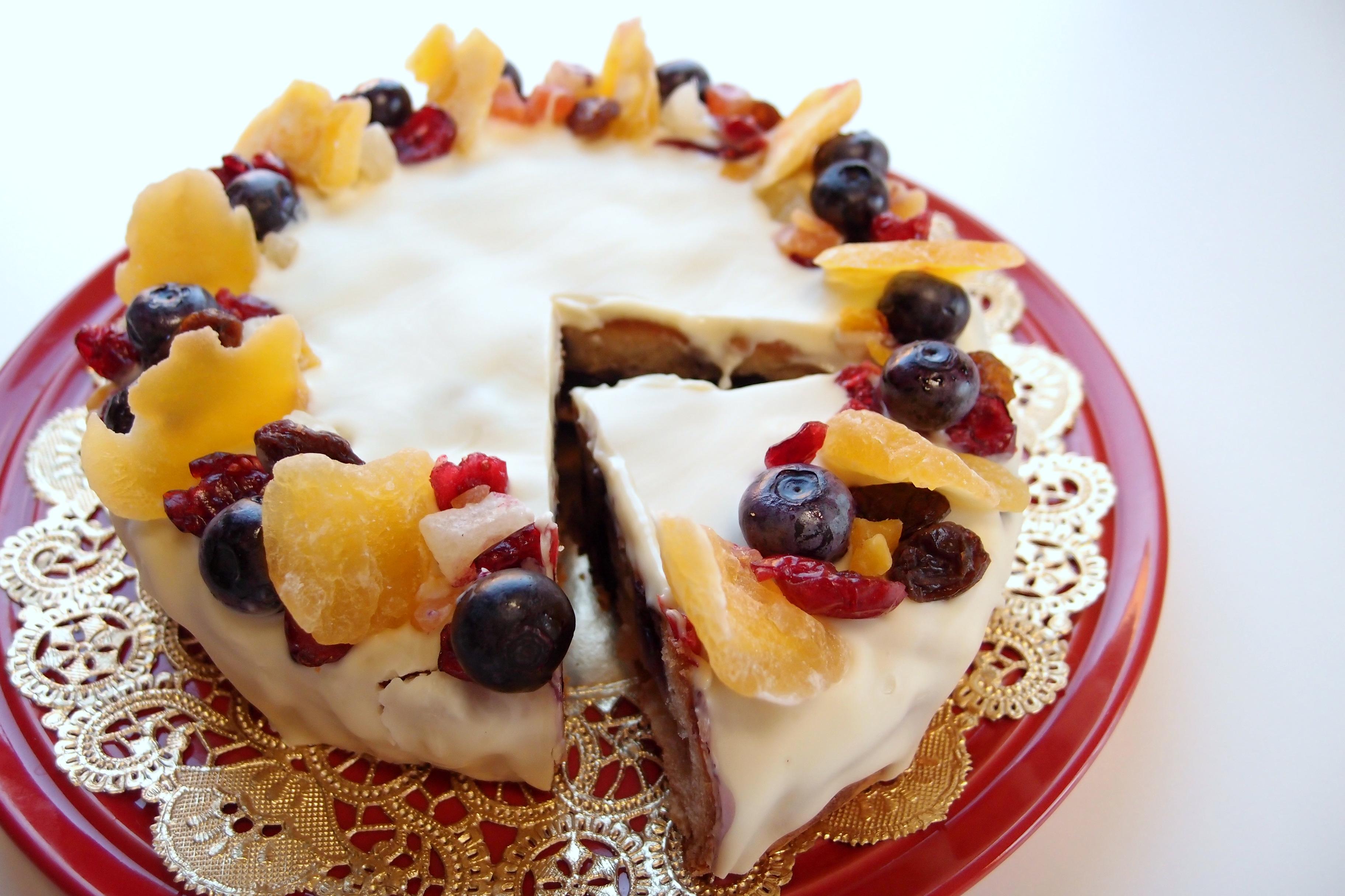 3分クッキング、「りんごとブルーベリーのクリスマスケーキ」