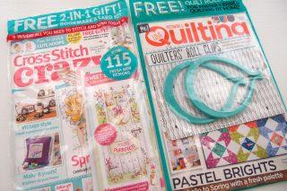 """イギリスの刺繍とキルトの雑誌、""""Cross Stitsch Crazy"""" と """"Love Patchwork & Quilting"""""""