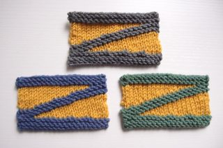 様々な引き返し編みの技法ーW&T・日本式・ドイツ式で編んだショートロウの編地を比較してみました