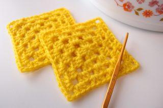 1色で編むグラニースクエアの編み方。立ち上がりの目が目立たない編み方です。