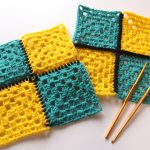 グラニースクエアの簡単なつなぎ方。細編みで編みつないでいく方法です