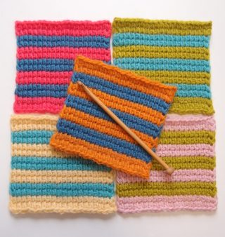 アフガン編みの編地が正方形にならない原因 Part 2ープレーン編みの角が丸まることと関係があった!?