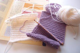 アフガン編みの編地が丸まってしまう問題(プレーン編みが正方形にならない問題の補足です)