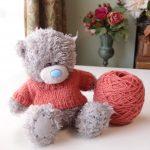 イギリスの講習会で習ったシームレスセーターの復習をしました&同じ編み方でぬいぐるみのセーターも編んでみました
