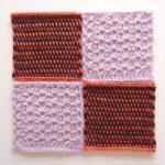【フェリシモ】『アフガン編みのサンプラーの会』6回目ー134 薄紫の透かし模様