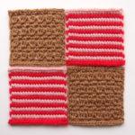【フェリシモ】『アフガン編みのサンプラーの会』7回目ー135.赤とピンクのボーダー