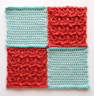 【フェリシモ】『アフガン編みのサンプラーの会』8回目ー136 白と水色のまじり編み