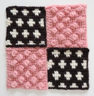 【フェリシモ】『アフガン編みのサンプラーの会』9回目ーモノトーンの水玉模様