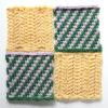 【フェリシモ】『アフガン編みのサンプラーの会』10回目ー138.緑と薄紫のレジメンタル