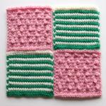 【フェリシモ『アフガン編みのサンプラーの会』11回目ー115ビリジアンの細ボーダー