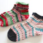 ユザワヤのオリジナル毛糸「FREE SOCK」の余り毛糸で編んだ短めの靴下