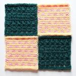 フェリシモ『アフガン編みのサンプラーの会』13回目ー140. 薄黄色にピンクのちいさなドット