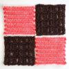 フェリシモ『アフガン編みのサンプラーの会』14回目ー141. ビビットオレンジのまじり編み