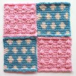 フェリシモ『アフガン編みのサンプラーの会』15回目ー142.水色の水玉模様