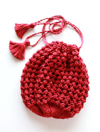 【Ravelry】Knitted Drawstring Pouch を編みました。雫のような形が可愛い!