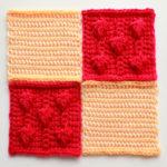 フェリシモ『アフガン編みのサンプラーの会』16回目ー143.赤紫のリーフ模様