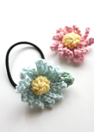 【動画あり】かぎ針編みのお花のモチーフ(+葉っぱ)の編み方。余り糸消費にも!