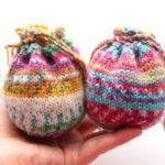 【動画あり】Opal の残り糸で編む、小さい巾着の編み方(大きさ3種類)