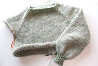 もっと簡単なラグランセーターの編み方 その3.  袖と身ごろの編み方、糸始末の方法とブロッキング(完成)