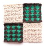 フェリシモ『アフガン編みのサンプラーの会』17回目ー144.茶色と緑の三角模様