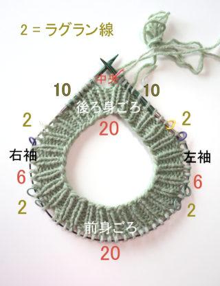 【動画あり】もっと簡単なラグランセーターの編み方 その2. ネック~ヨークまでの編み方