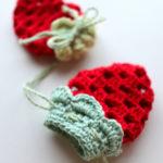【動画あり】グラニースクエアで編む小さないちごの巾着の編み方 (Part2/2)