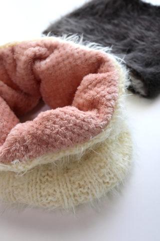 【動画あり】100均の糸2玉と端切れで作る、簡単なボア付きスヌードの編み方(棒針編み)