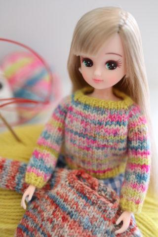 【動画あり】リカちゃんのセーターの編み方(棒針編み)ブライスにも!(前編)